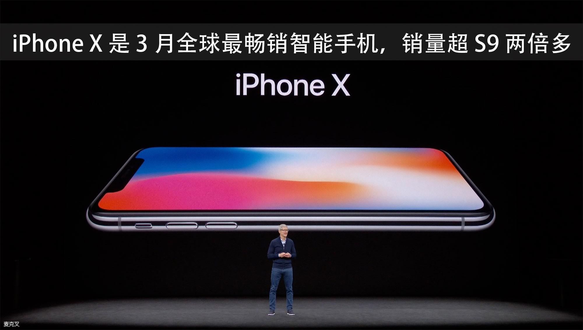 iPhone X 是 3 月全球最畅销智能手机,销量超 S9 两倍多