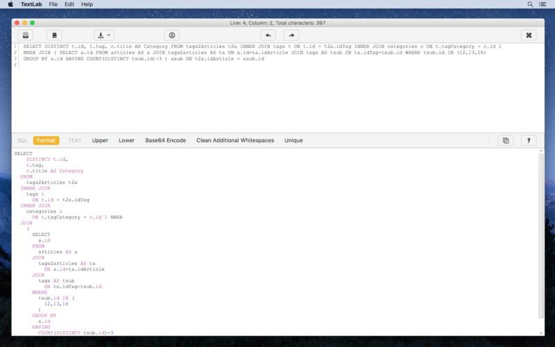TextLab 1.3.9 实用的代码格式转换工具