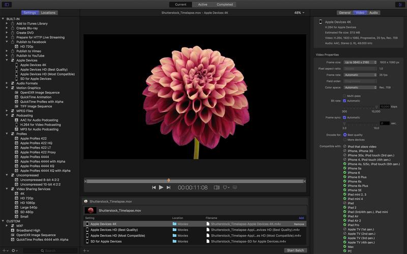 Compressor 4.4.2 苹果官方出品视频解码格式转换工具