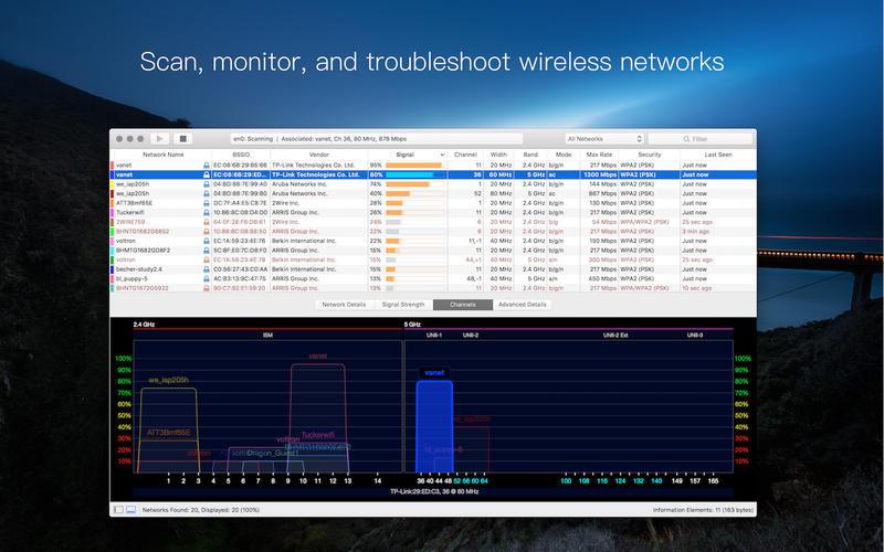 WiFi Explorer 2.5.5 CR2 强大的WiFi无线扫描和管理工具