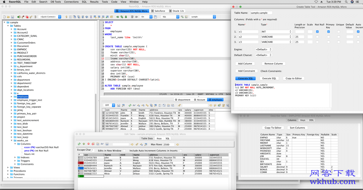 RazorSQL 8.0.6 支持多种数据库的数据库管理工具