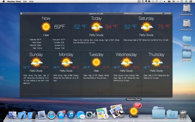 Weather Dock 4.5.0 一款Dock图标形式的天气预报应用