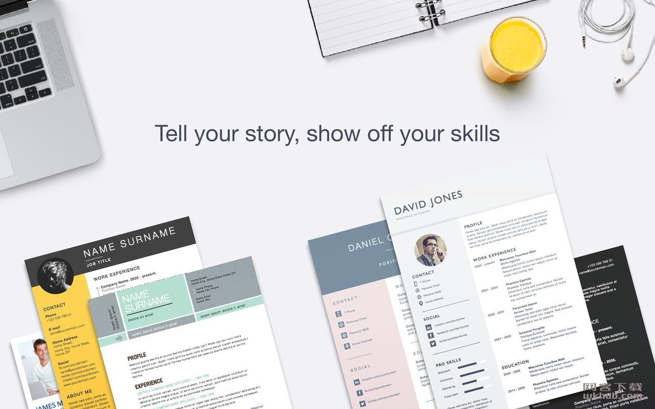 Resume & CV Lab Templates 1.3.1 优秀的Pages可视化模板工具