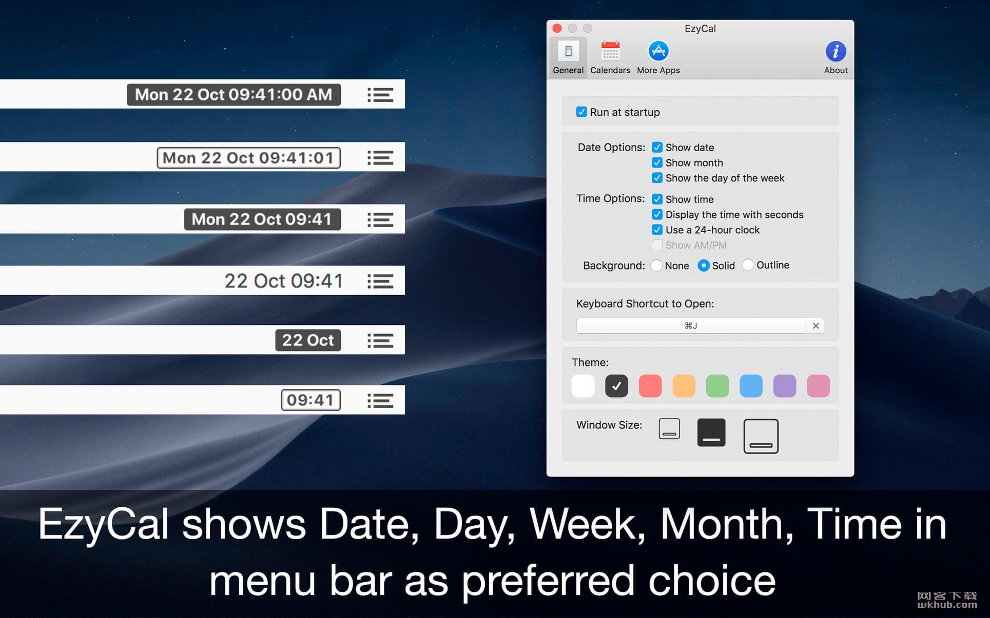 EzyCal 1.8 菜单栏日历工具